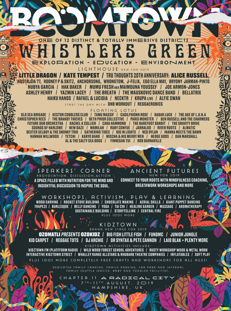 Boomtown Fair Whistlers Green Line-up Poster