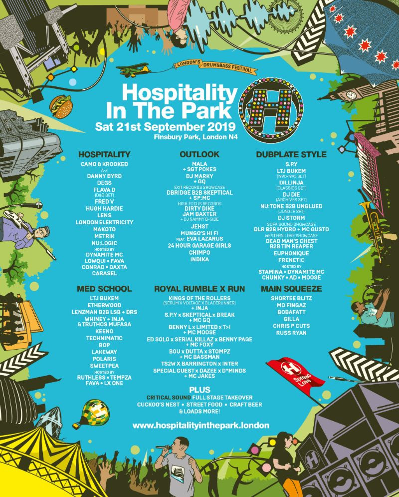 Hospitality in the Park Line-up Poster 2019