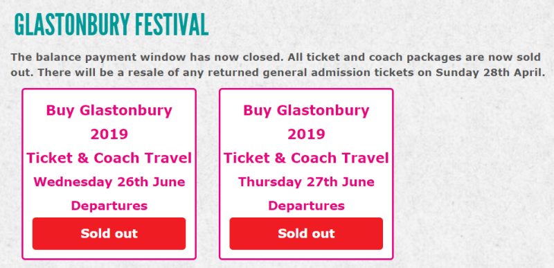 Glastonbury 2019 coach resale sold out