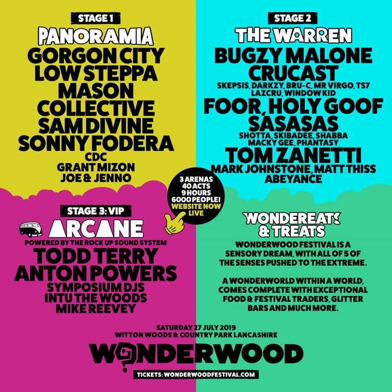 Wonderwood stage splits line-up poster 2019