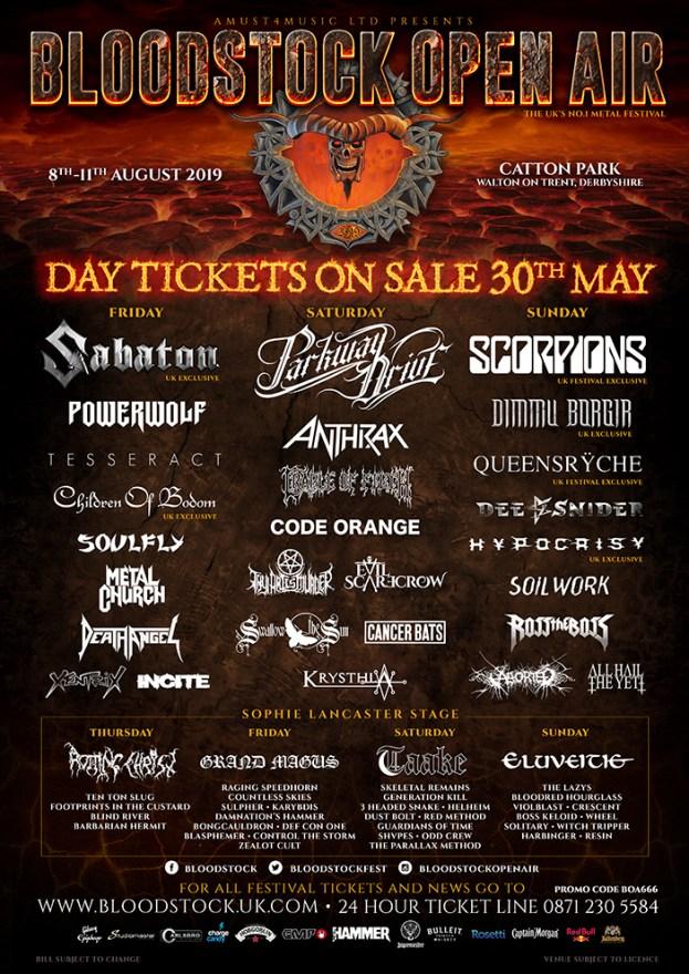 Bloodstock 2019 Day Splits Line-up poster