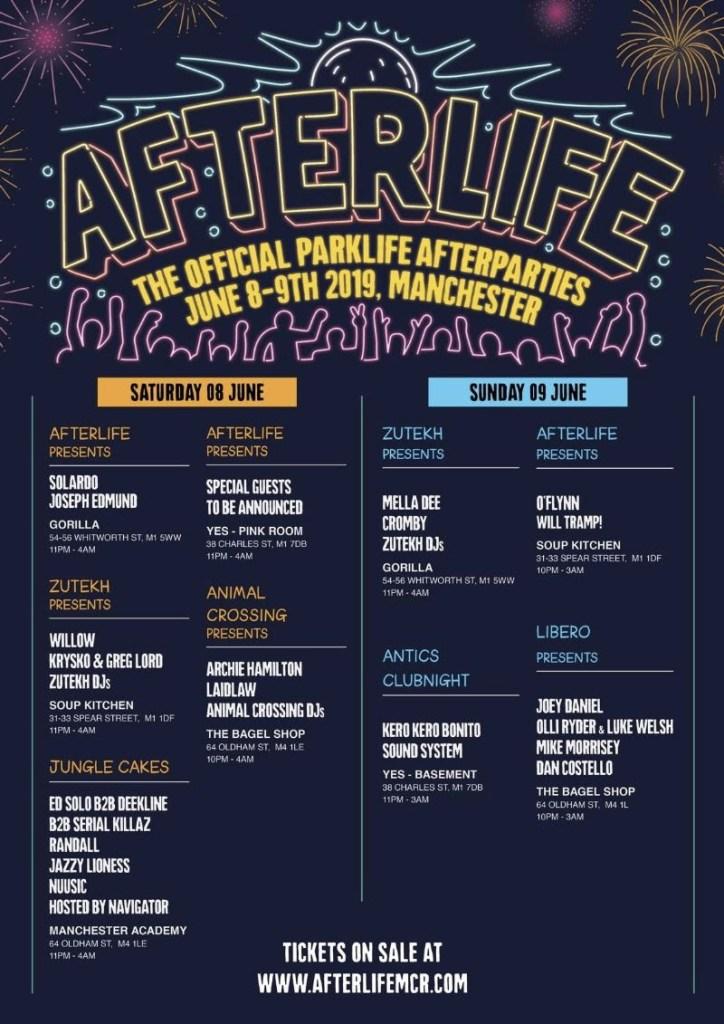 Parklife Afterlife line-up poster 2019