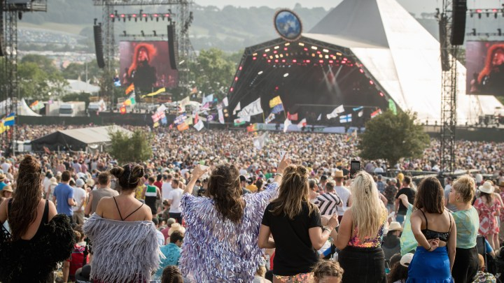 Watching the Glastonbury line-up on the Pyramid Stage from the crowd