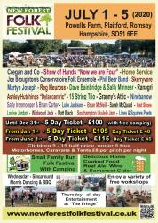 New Forest Folk Festival 2020 line-up poster