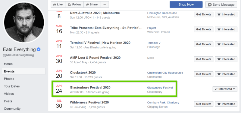 Eats Everything Glastonbury 2020 confirmation tour listings
