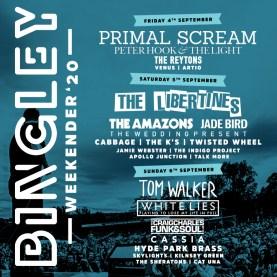 Bingley Weekender 2020 line-up poster