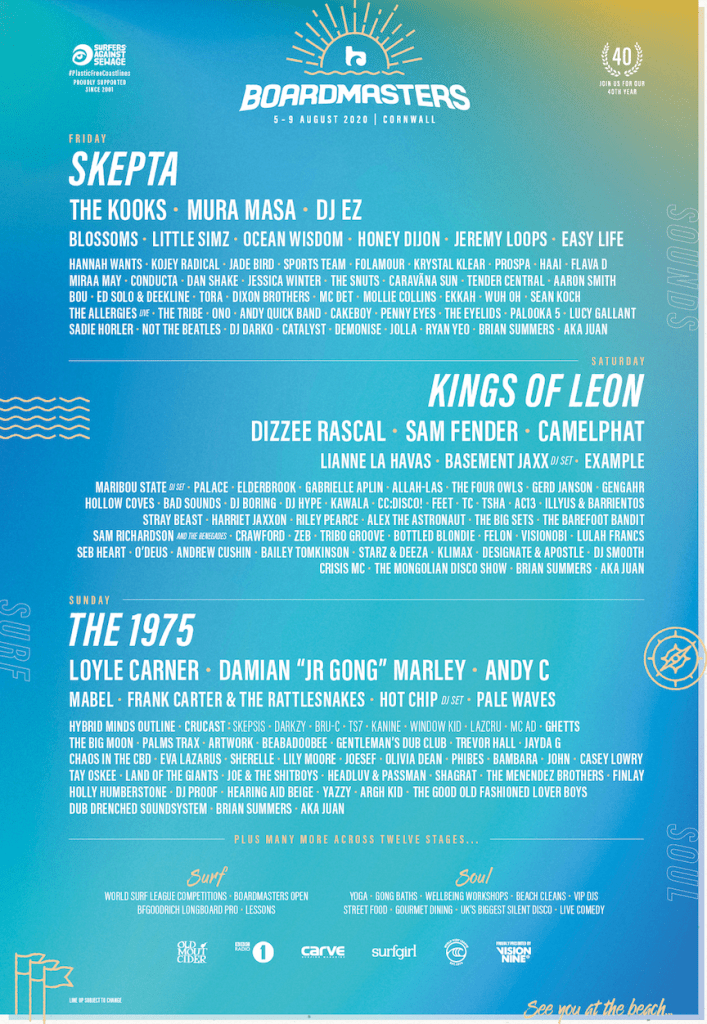 Boardmasters 2020 latest line-up poster