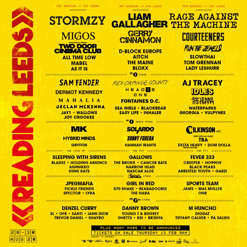 Leeds & Reading Festival 2020 Shared Line-up Poster