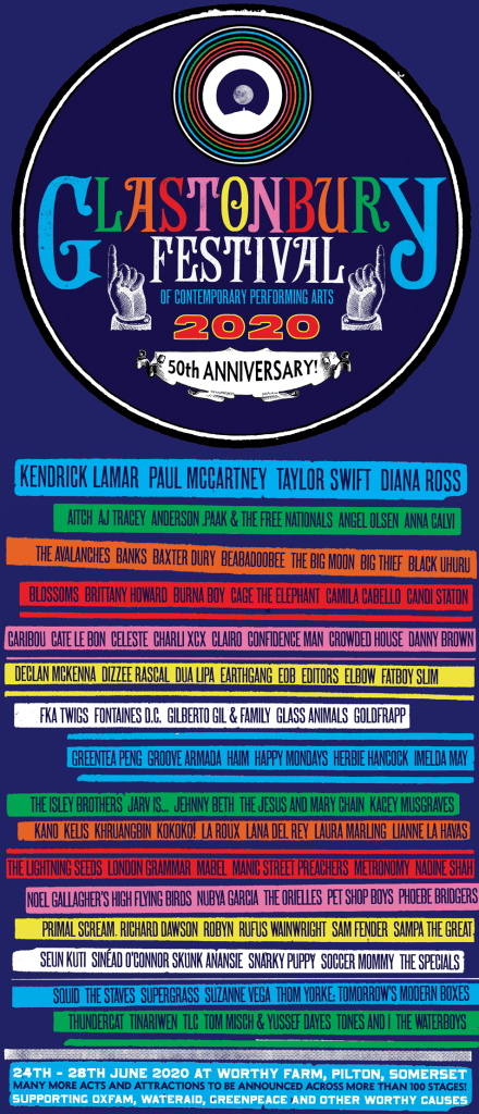 Glastonbury 2020 line-up poster