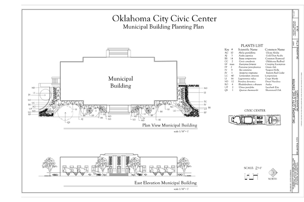 Municipal Building Planting Plan of Oklahoma City Civic Center in Oklahoma City, Oklahoma. Delineated by Oklahoma State University student Justin Kissman, Fall 2008, under the direction of Professor Dr. Charles Leider. (Library of Congress, Prints & Photographs Division, HALS, HALS OK-9).