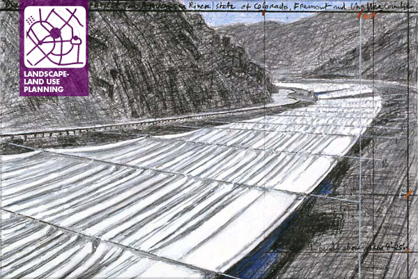 Christo, Over the River project For the Arkansas River, Colorado, Drawing 2007