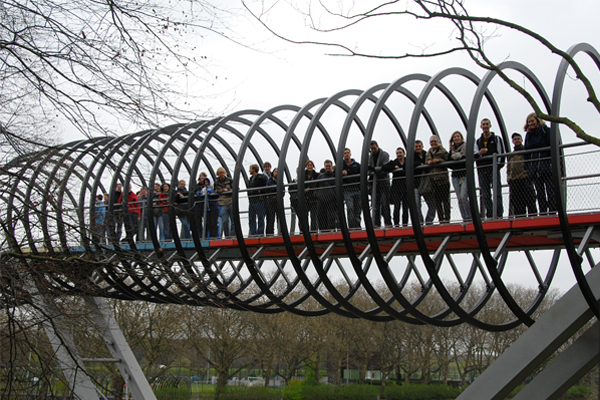 Student participants on a new bridge crossing the river. image: Michael Roth 2012