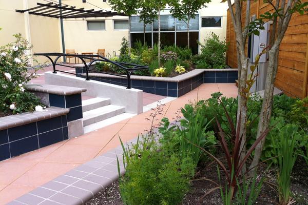 Stair ramp at Harrison image: Hafs Epstein Landscape Architecture