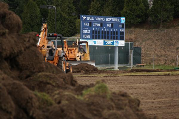 WWU's new softball field under construction image: Erik J. Sweet, SLA Landscape Architecture