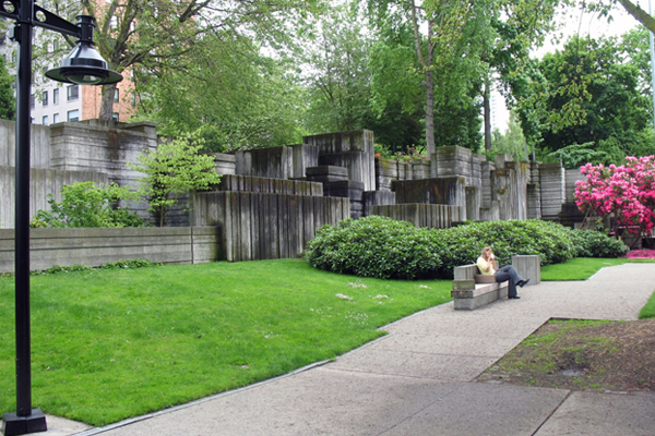 Freeway Park in Seattle, designed by Lawrance Halprin & Associates under the design direction of Angela Danadjieva, and opened in 1976 image: Taner R. Ozdil, 2012