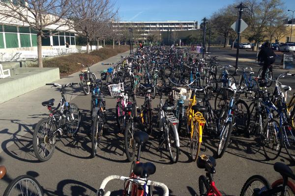 Bike parking at the Recreation Center image: Skip Mezger