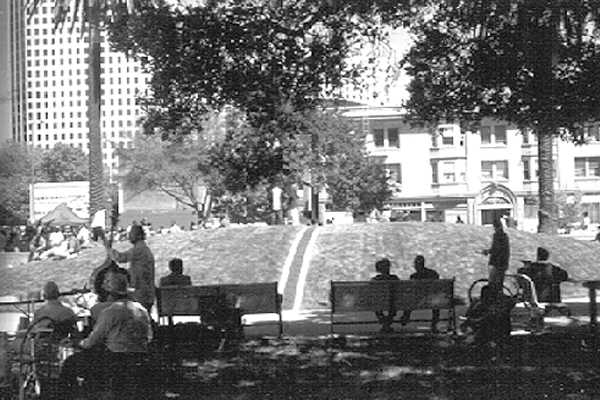 Lafayette Square Park - visual separation allows many different users to enjoy the park in separate spaces and to avoid others with whom they might conflict. image: Hood Design