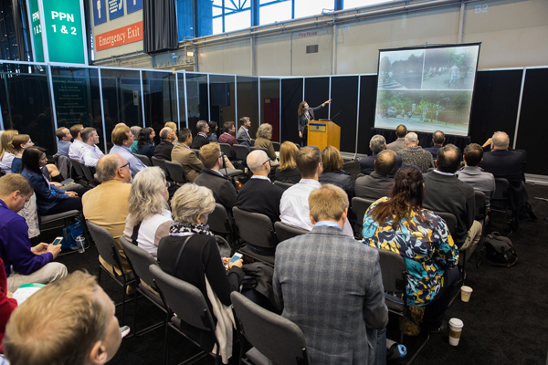 """Jennifer Daniels, ASLA, of the Smithsonian Institution presenting on """"How to park a zoo"""" image: Event Photography of North America Corporation (EPNAC)"""