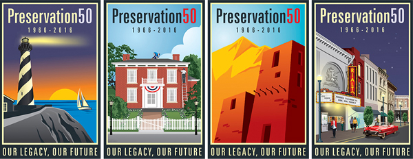 Preservation 50 - Commemorating 50 years of the National Historic Preservation Act 1966-1916. Preservation50 is the United States' four-year effort to celebrate, learn from, and leverage the National Historic Preservation Act's first five decades to assure historic preservation's vibrant future in America. image: Preservation50