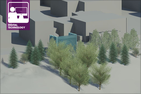 View of a Revit model with limited landscape features image: Matthew Wilkins