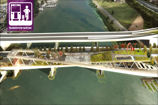 Rendering of the planned 11th Street Bridge Park, in Washington DC image: courtesy of OMA and OLIN