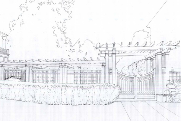 View looking north, Meyers House and Garden, Alameda, CA image: drawn by Mollie Sitzer