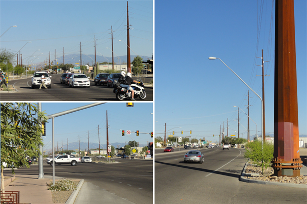 "Figure 3: The Grant and Oracle Intersection. The first phase in the City of Tucson Grant Road Improvement Project, a 5-mile project advertised in the Design Concept Report as a ""state of the art, multi-modal transportation corridor,"" using a context sensitive approach. Utility poles are not shown in the cross sections in the Design Concept Report. image: Ellen Alster"