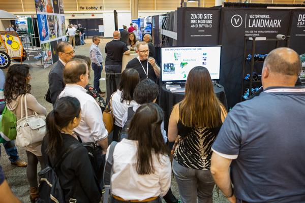 Eric Gilbey, ASLA, of Vectorworks, demonstrates how practitioners can utilize BIM workflows for sites during the Digital Technology PPN EXPO Tour. image: Event Photography of North America Corporation (EPNAC)