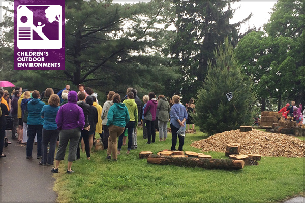 """2016 C&NN Conference participants gather to learn about a park's """"pop-up adventure play"""" area. / image: Julie Johnson, ASLA"""
