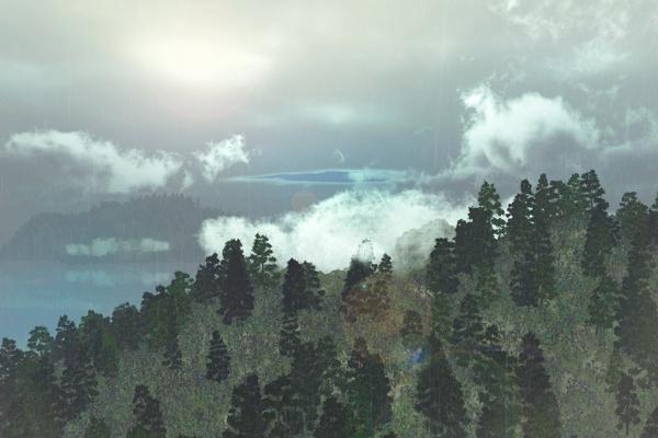 Rain Over Islands: Procedural Vegetation and Weather Algorithms in Vue image: Matthew Wilkins