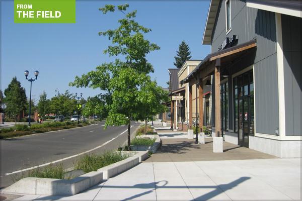 Boone's Ferry Road streetscape in Wilsonville, Oregon