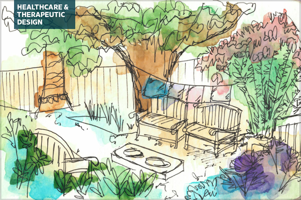 Watercolor sketch of a hospital's therapeutic garden