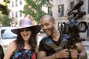 Actor Mimian Morales and Cinematographer Josmar Taveras share a happy moment. Josmar is using the Canon C100 with Glidecam.