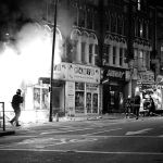 Shop fire in the Party Superstore, Lavender Hill, Clapham Junction, England, 8 August, 2011