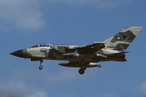 "Saudi air strikes continue. Image source: ""Panavia Tornado IDS, Saudi Arabia - Air Force AN1102751"" by Mike Freer"