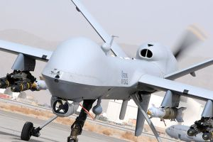 A Reaper MQ-9 Remotely Piloted Air System (RPAS) prepares for takeoff in Afghanistan. Image Source: UK Royal Air Force, Corporal Steve Follows