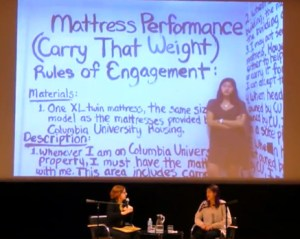 """Emma Sulkowicz at """"Mattress Performance discussion, 14 December 2014"""" by Elizabeth A. Sackler Foundation -"""