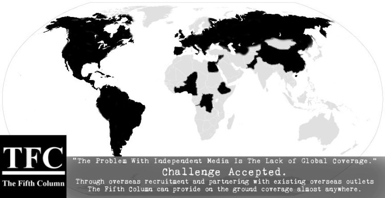 Countries in black are locations where The Fifth Column has established coverage.