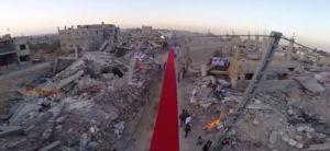 Red carpet of Karama Film Festival in Gaza. Image Source: YouTube screenshot of Lama video.