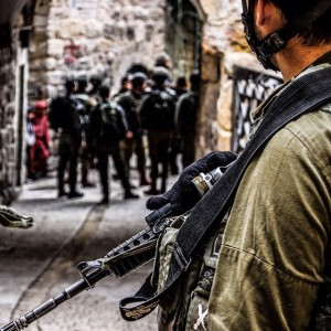 Palestine IDF soldier on streets for weekly protest. Image Source: CPT Palestine, Flickr, Creative Commons.