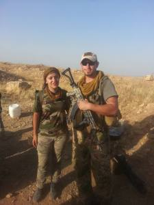 Andrew Hall with one a Kurdish soldier.