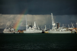 Image Source: Rob Faulkner, Flickr, Creative Commons Battleship Rainbow US and British ships at Portsmouth. Plus a rainbow... (From left to right: USS Mitscher, USS Gettysburg, HMS Dragon and HMS Westminster)