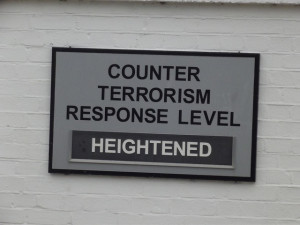 Image Source: Elliott Brown, Flickr, Creative Commons Porter's Lodge - Portsmouth Historic Dockyard - Counter Terrorism Response Level: Heightened Waiting in the entrance queue at Portsmouth Historic Dockyard, I saw this Counter Terrorism Response Level sign. At the time it was Heightened.