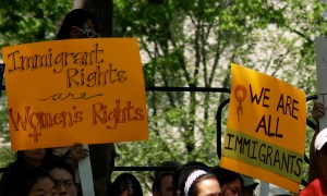 "Image Source: takomabibelot, Flickr, Creative Commons ""Immigration Rights Are Women's Rights"" & ""We Are All Immigrants"" Signs At The May Day Immigration Rights Rally (Washington, DC)"