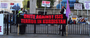 Image Source: DAVID HOLT, Flickr, Creative Commons London September 30 2014 015 Kurds Protest against ISIS ISIL Islamic State IS