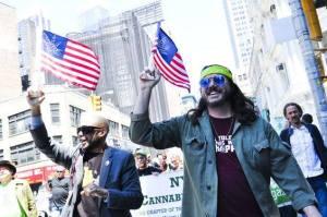 Brenton Lengel and George Martinez leading the annual Marijuana March, NYC 2014