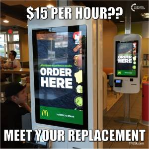 Meme circulating alleging massive jobs losses with minimum wage hike. From facebook.com