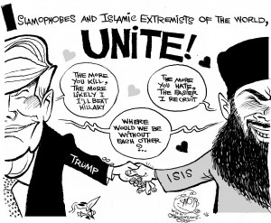 Radical Haters Unite an OtherWords cartoon by Khalil Bendib.