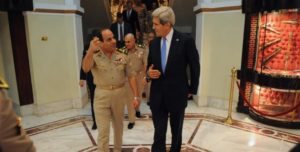 Egyptian President Abdel Fattah al-Sisi meets with US Secretary of State John Kerry (courtesy Wikimedia)