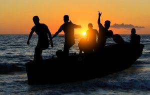boat with migrants fleeing from war